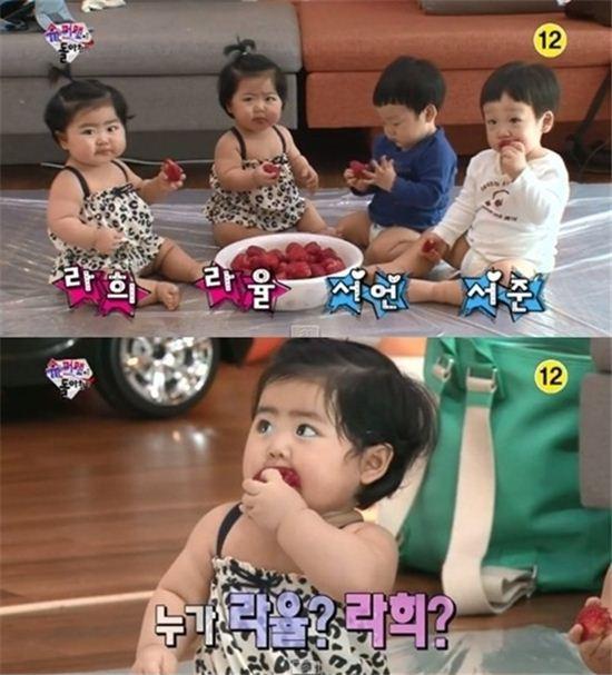 ▲슈의 쌍둥이 딸 라희, 라율.(사진:KBS '슈퍼맨이 돌아왔다' 방송캡처)