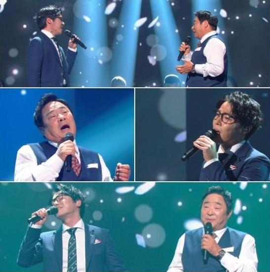 ▲'불후의 명곡' 휘성이 아버지와 함께 듀엣 무대를 선사했다.(사진:KBS 제공)