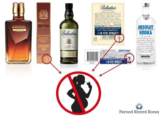 페르노리카 코리아가 임신부 음주 예방을 위해 전 제품 라벨에 '임신부 음주 예방 로고'를 부착했다.