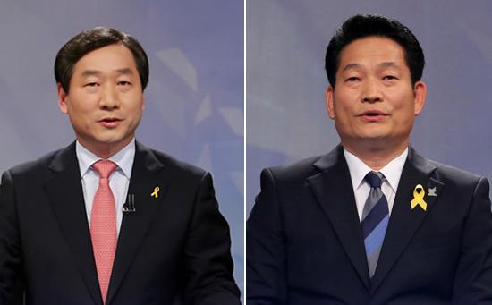 유정복 새누리당 인천시장 후보(왼쪽)과 송영길 새정치민주연합 인천시장 후보(오른쪽).