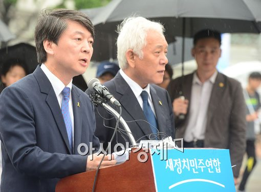 안철수(좌) 김한길(우) 새정치민주연합 공동대표