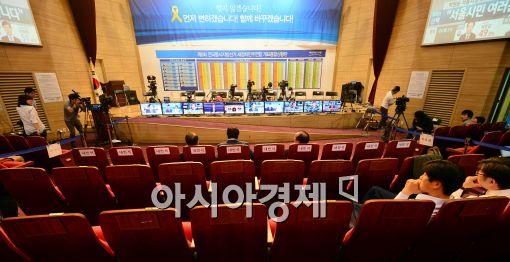 [포토]썰렁한 새정치민주연합 선거개표상황실