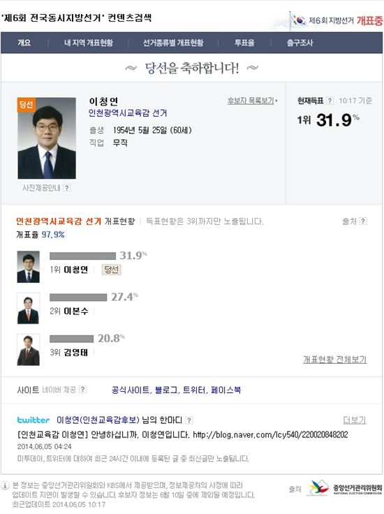 ▲이청연 인천시교육감 후보의 공약이 화제다. (사진: 중앙선거관리위원회 캡처)