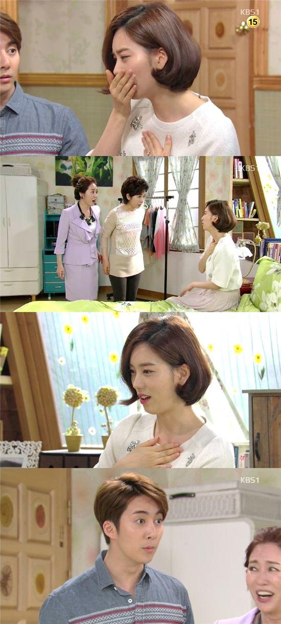 황선희가 KBS1 일일드라마 '사랑은 노래를 타고'(극본 홍영희, 연출 이덕건, 이하 '사노타')에서 임신하는 모습이 그려졌다. / 해당 방송 캡쳐