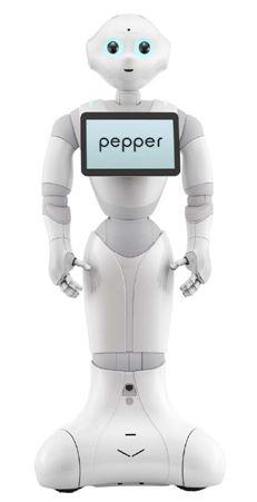 ▲일본의 소프트뱅크모바일이 프랑스의 알데바란로보틱스와 공동 개발한 세계 최초 감정 인식 로봇 '페퍼'. '페퍼'의 가슴 부분에 장착된 디스플레이가 LG CNS가 로봇에 최적화되도록 설계, 제작하여 공급한 '인터랙티브 패널'이다.