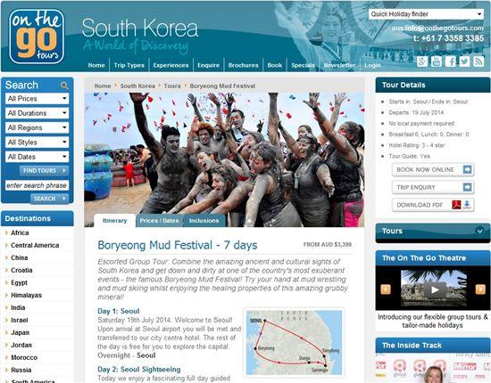 영국의 여행전문사이트 'On the go tours(www.onthegotours.com)'에 소개된 충남 보령머드축제 관련내용들