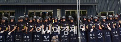 [포토]가로막힌 금수원 예배당