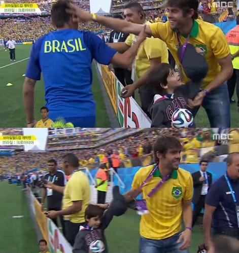 ▲브라질 축구선수 카카가 개막전에 깜짝 등장했다.(사진:MBC 방송캡처)