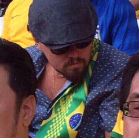 ▲브라질 크로아티아 월드컵 개막전에서 레오나르도 디카프리오가 포착됐다. (사진:  2014 브라질월드컵 비공식 트위터 @Brazil14WC)