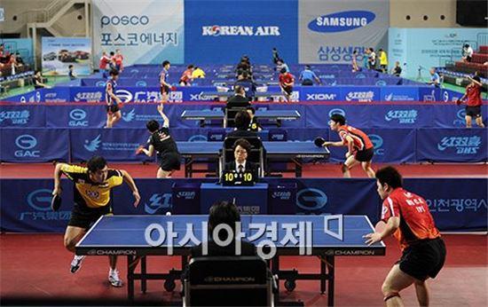 지난 6월 11일부터 15일까지 인천삼산월드체육관에서 열린 2014 국제탁구연맹(ITTF) 월드 투어 코리아오픈 슈퍼시리즈 당시 경기 모습[사진=김현민 기자]
