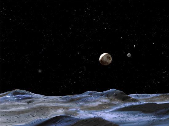 ▲명왕성과 달.[사진제공=NASA]