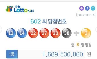 ▲나눔로또 602회 1등 당첨금 및 당첨번호 공개.(사진:나눔로또홈페이지 캡처)