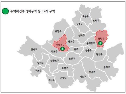재건축정비구역 해제지 분포도(자료: 서울시)
