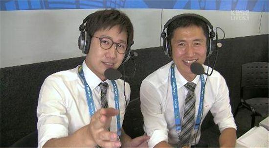 ▲조우종 아나운서와 이영표 해설위원(오른쪽) (사진:KBS 방송 캡처)