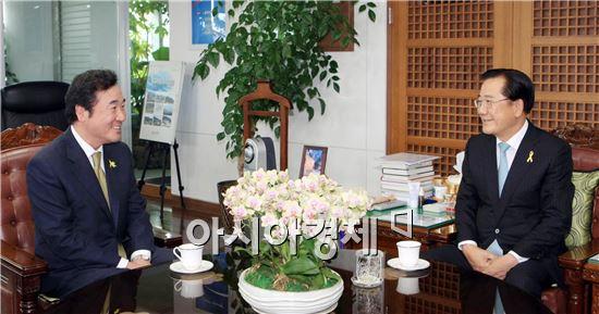 박준영 전남지사(오른쪽)와 이낙연 전남지사 당선인은 20일 오후 도지사 집무실에서 면담을 갖고 친환경 농수축산업, 기업유치 등 도정 핵심시책에 대해 폭넓게 논의 했다. 사진제공=전남도
