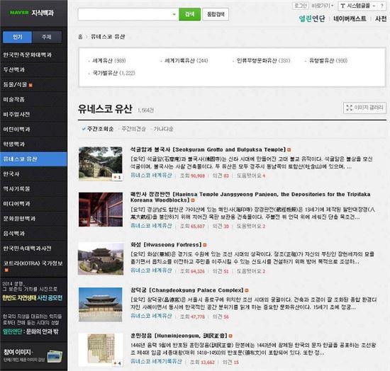 유네스코 유산 데이터베이스 화면