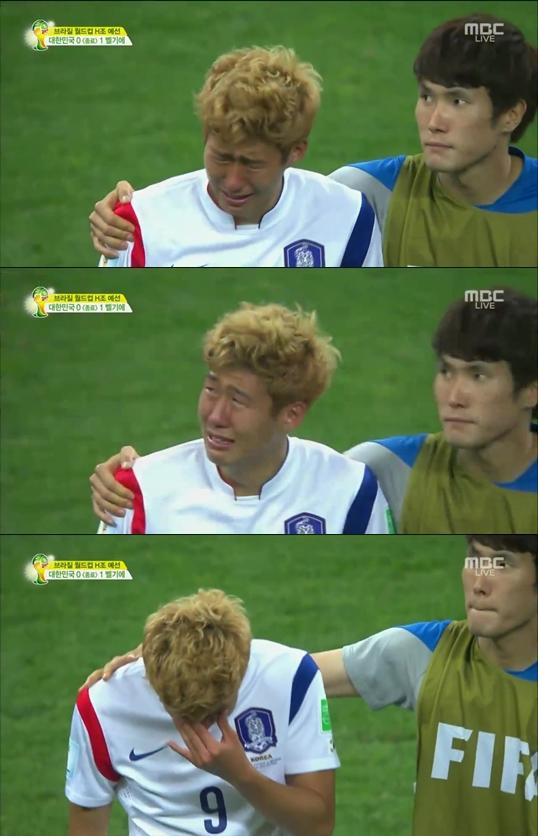 ▲손흥민이 벨기에전을 마치고 눈물을 보였다. (사진: MBC 중계화면 캡처)