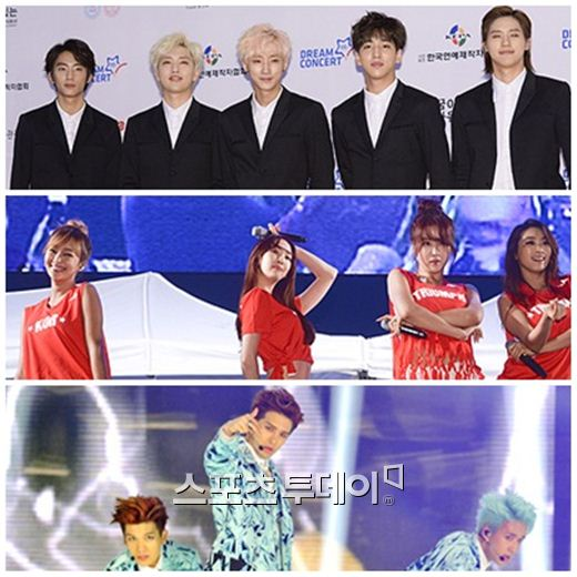청심뮤직페스티벌 출연 그룹 B1A4-씨스타-빅스(위부터)