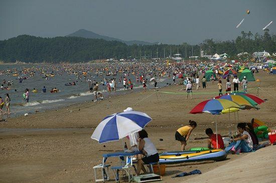 서천 춘장대해수욕장에서 더위를 식히고 있는 피서객들