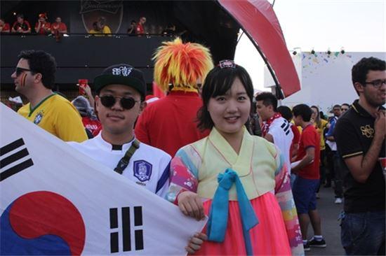 27일 한국-벨기에 경기를 관전하기 위해 상파울루 아레나 코린치앙스를 찾은 한국 축구팬