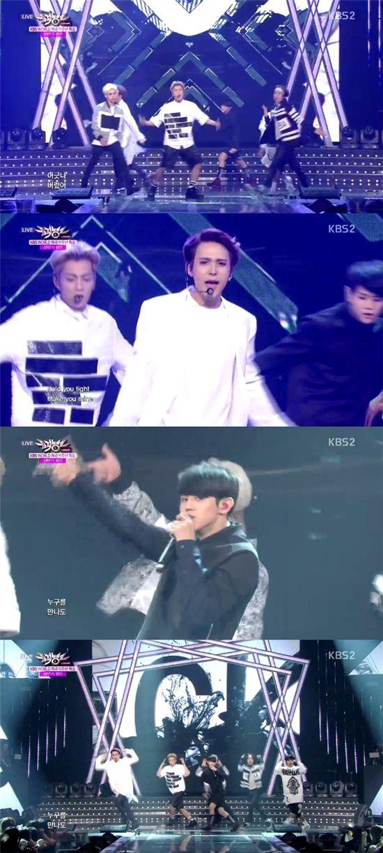 비스트는 27일 오후 방송한 KBS2 '뮤직뱅크'에서 '굿 럭'을 열창했다. / 해당 방송 캡쳐