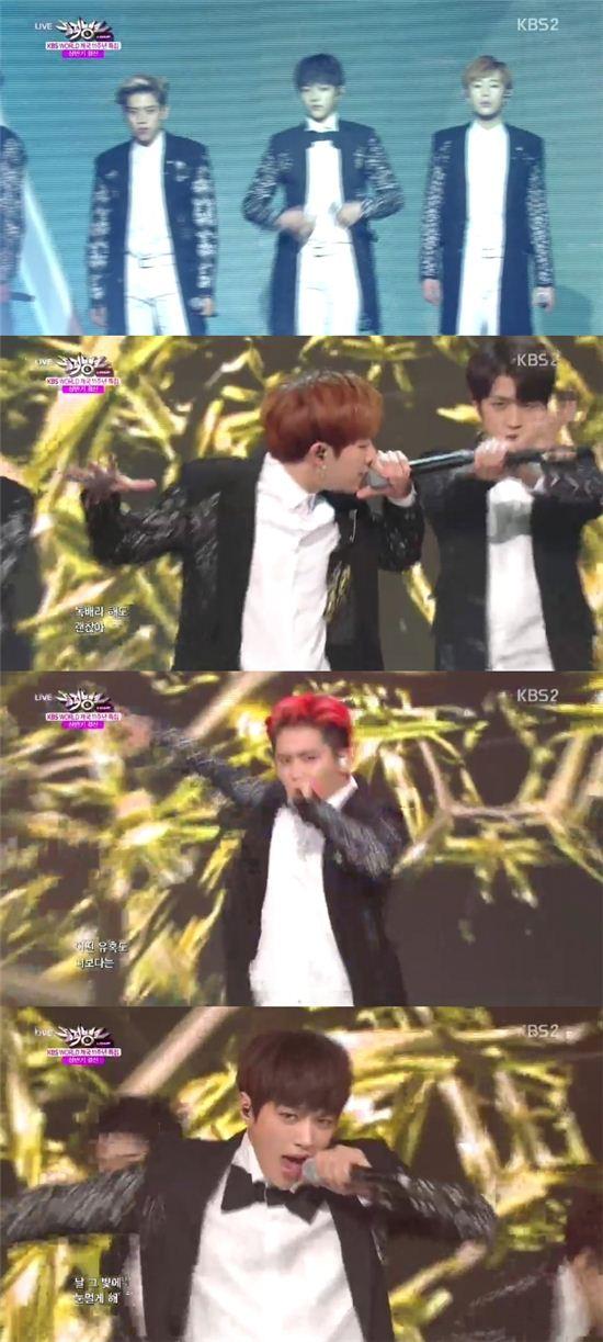 인피니트는 27일 오후 방송한 KBS2 '뮤직뱅크'에서 '라스트 로미오'를 열창했다. / 해당 방송 캡쳐