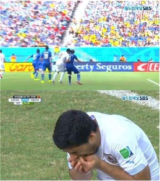 ▲핵이빨 수아레스가 FIFA로부터 4개월 선수 자격정지 징계를 받았다.(사진:SBS 중계방송 캡처)