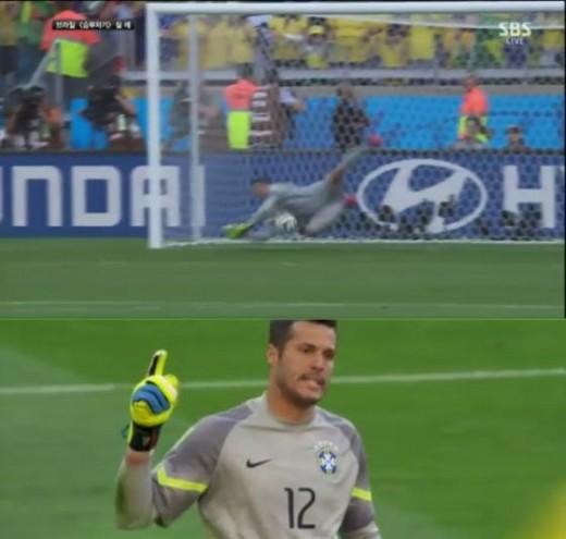 ▲브라질 칠레 16강 경기. 세자르의 선방장면. (사진: SBS 경기중계영상 캡쳐)