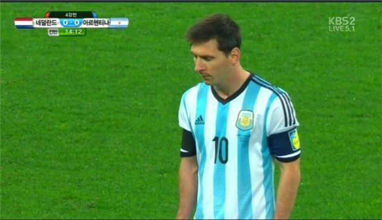 결승에 진출한 아르헨티나 리오넬 메시(사진:KBS 2TV 방송영상 캡처)
