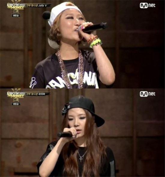 가수 졸리브이(위쪽)와 타이미(아래쪽)이 지난 10일 방송된 케이블채널 Mnet '쇼미더머니 3'에서 맞대결을 펼쳤다.(사진: Mnet '쇼미더머니 3' 방송 캡처)