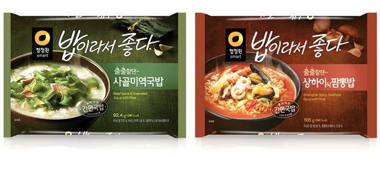 ▲ 대상 청정원 '사골미역국밥'과 '상하이식짬뽕밥' 2종