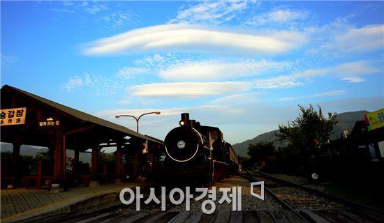 전남 곡성의 대표적인  관광지인 섬진강기차마을에 최근 추억의 증기기관차와 UFO를 닮은 구름이 조화를 이루면서 환상적인 장면이 연출돼 관광객들의 시선을 끌었다. 사진제공=곡성군 서인석씨