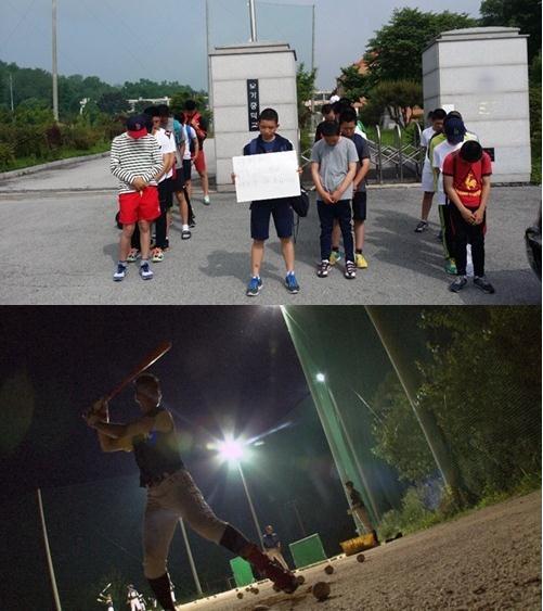 침묵시위 중인 모가중학교 야구부 (사진: SBS '궁금한이야기Y' 캡처)