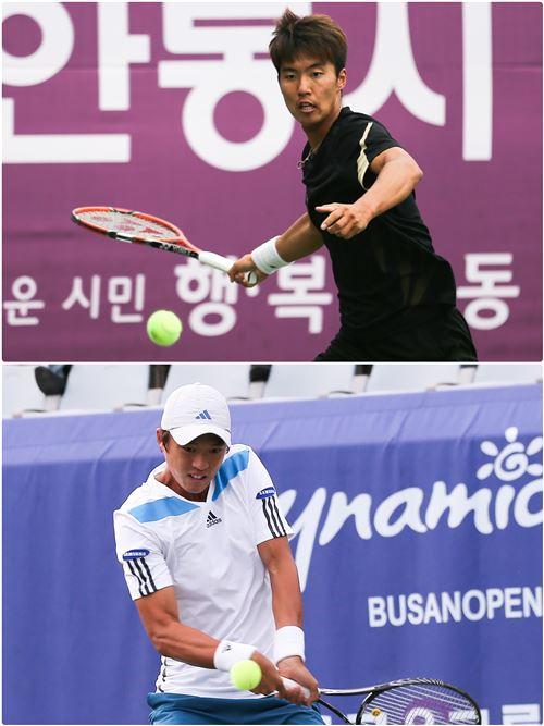 남자 테니스대표팀 조민혁(위)과 남지성[사진 제공=대한테니스협회]