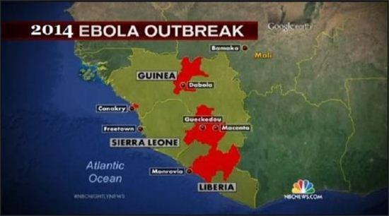 서아프리카서 수백명의 사망자를 낸 에볼라 바이러스(사진: NBC 방송화면 캡처)