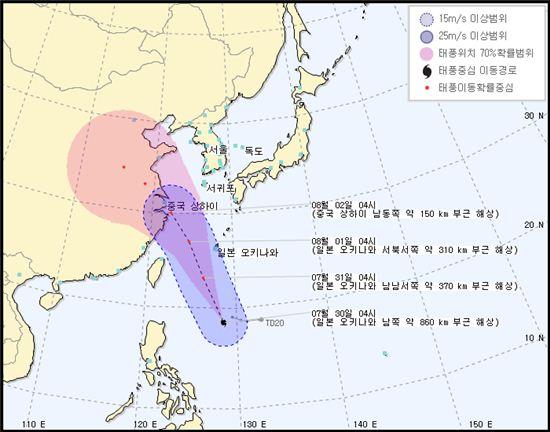 12호 태풍 나크리 경로(사진: 케이웨더 제공)