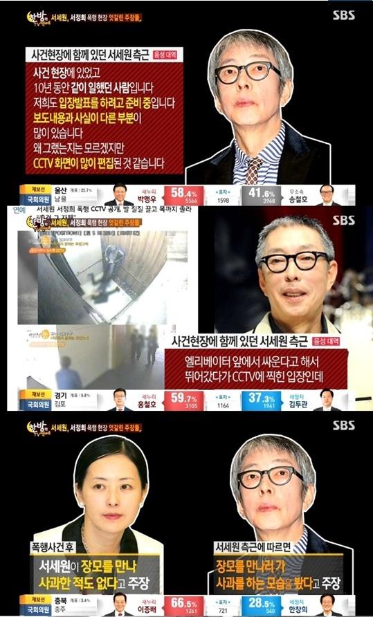 서세원 측이 CCTV 영상에 이의를 제기했다.[사진출처=SBS '한밤의TV연예' 캡처]
