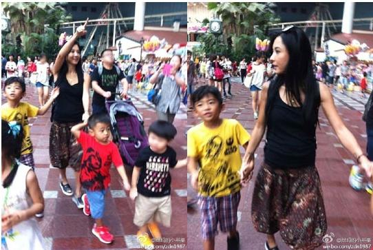 장백지가 두 아들과 한국을 방문했다.(사진:중국 웨이보)