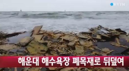 해운대 해수욕장이 폐목재 피해를 입었다.(사진:YTN 보도화면 캡처)