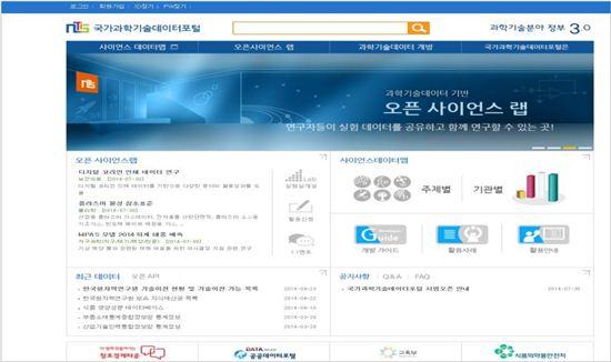 국가과학기술데이터 포털 서비스(http://open.ntis.go.kr) 화면