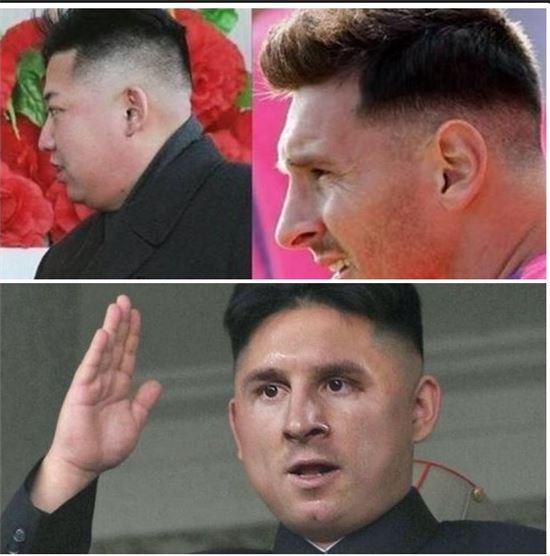 최근 SNS에 퍼지고 있는 김정은과 메시의 헤어스타일을 비교한 사진