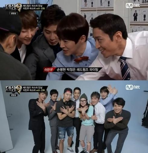 앤디가 다른 신화멤버들과 함께 이민우를 응원하러 '댄싱9'에 출연했다.(사진:Mnet '댄싱9' 방송 캡처)