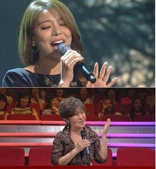 윤복희가 자신의 곡 '여러분'을 리메이크해 열창한 에일리를 극찬해 화제다.(사진:KBS 2TV '불후의 명곡' 방송 캡처)