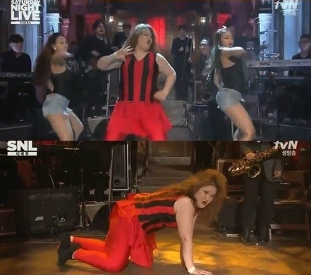 개그우먼 이국주가 현아의 '빨개요'를 패러디해 화제다.(사진:tvN 'SNL 코리아' 방송 캡처)