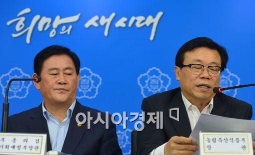 [포토]무역투자진흥회의 결과 브리핑 참석한 최경환-이동필