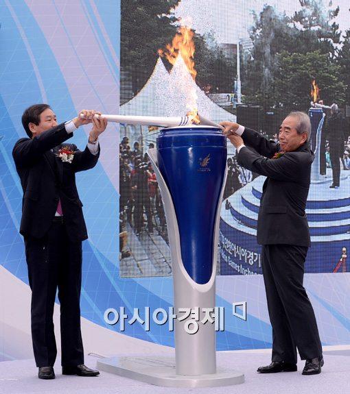 인천 아시안게임 성화 합화식[사진=김현민 기자]