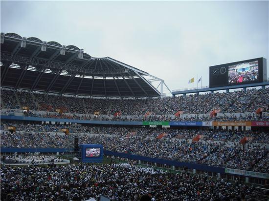 성모승천일 프란치스코 교황이 참석하는 미사가 열리는 대전월드컵경기장