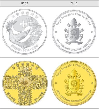 ▲교황 방한 기념 주화(자료 : 조폐공사)