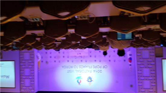 15일 오후 2시50분 현재 예상 외로 텅 빈 교황방한위원회 메인프레스센터의 모습.