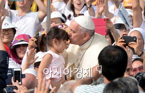"""[포토]프란치스코 교황 """"오늘은 모든 한국인에게 큰 기쁨의 날"""""""